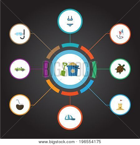 Flat Icons Cocos, Castle, Shovel And Other Vector Elements