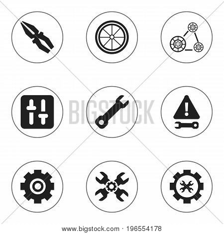 Set Of 9 Editable Mechanic Icons. Includes Symbols Such As Options, Equalizer, Cambelt And More