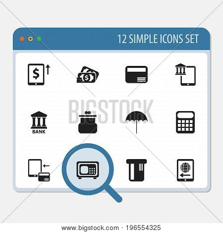 Set Of 12 Editable Banking Icons. Includes Symbols Such As Cash Growth, Calculate, Pouch And More