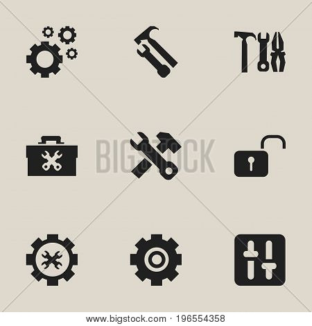 Set Of 9 Editable Tool Icons. Includes Symbols Such As Options, Cogwheels, Opened Padlock And More