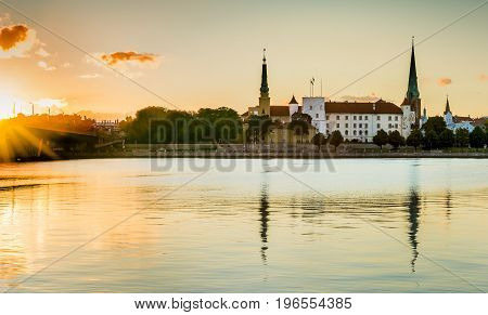 Morning view of old Riga city from embankment of the Daugava river, Latvia.