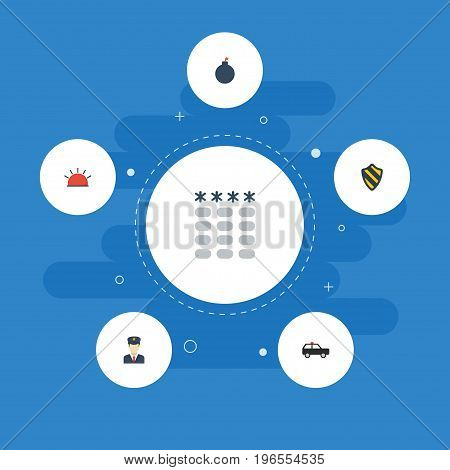 Flat Icons Keypad, Armored Car, Explosive And Other Vector Elements