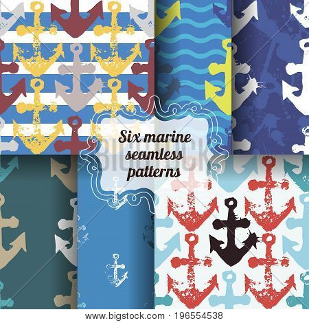 Set of marine seamless patterns. Colorful backgrounds with anchor imprints.Collection of tile textures with stamps of the ship equipment. Template for wrapping, textile. poster print.
