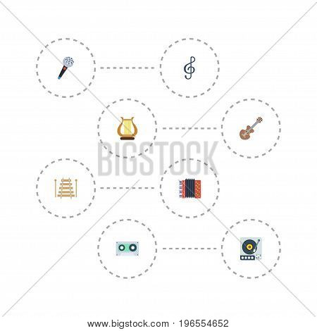 Flat Icons Musical Instrument, Quaver, Acoustic And Other Vector Elements