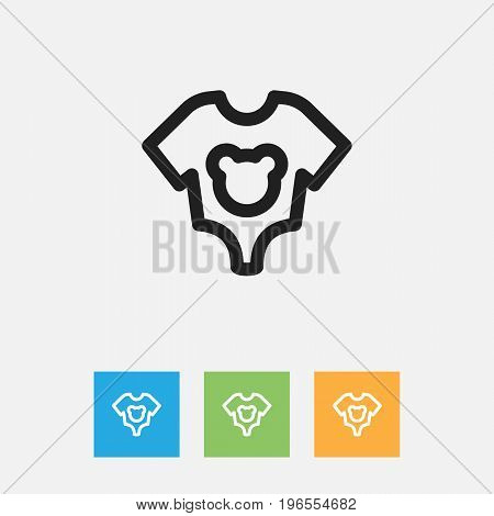 Vector Illustration Of Relatives Symbol On Baby Cloth Outline