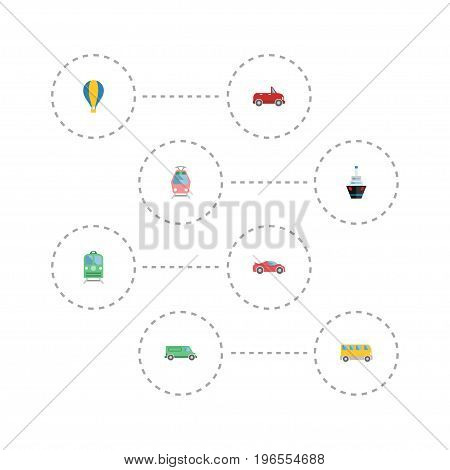 Flat Icons Omnibus, Transport, Luxury Auto And Other Vector Elements