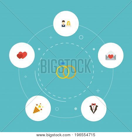 Flat Icons Card, Engagement, Sparkler And Other Vector Elements
