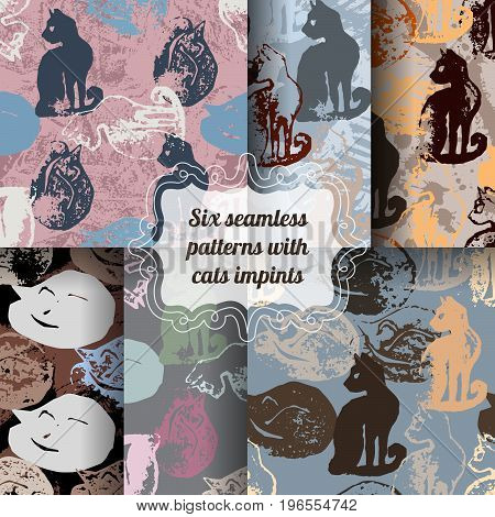 Set of seamless patterns with cat stamps. Sloppy strokes of a paint. Template for wrapping paper of textile print.