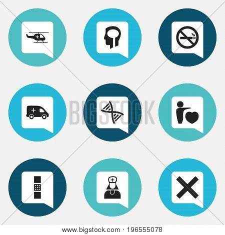 Set Of 9 Editable Hospital Icons. Includes Symbols Such As No Check, Emergency, Genome And More