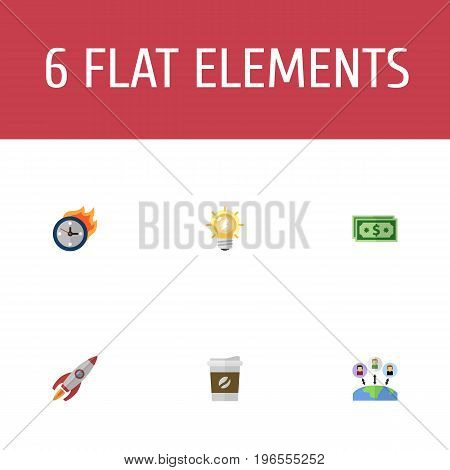 Flat Icons Cash, Break, Rocket And Other Vector Elements