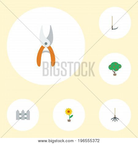 Flat Icons Flowerpot, Rake, Green Wood And Other Vector Elements