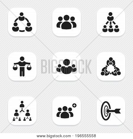 Set Of 9 Editable Team Icons. Includes Symbols Such As Hierarchy, Cooperation, Group And More