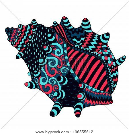 Seashell with high details. Colored hand drawn zendoodle oceanic object. Sketch for tattoo, poster, print, t-shirt in tracery style.