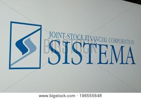 Saransk, Russia - July 23, 2017: A computer screen shows logo of Sistema. Selective focus.