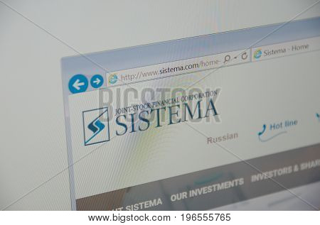 Saransk, Russia - July 23, 2017: A computer screen shows details of Sistema main page on its web site. Selective focus.