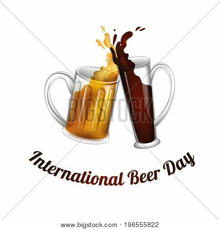 Illustration of two beer mugs for International beer day. Transparent object for alchohol festival.