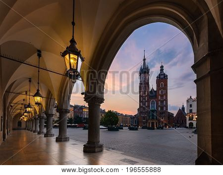 Old city center view with St. Mary's Basilica in Krakow on the morning