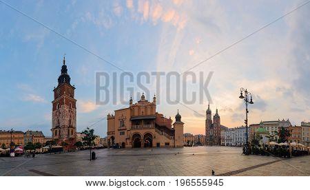 Old city center in Krakow in the morning.