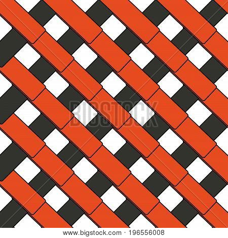 Abstract image of gray and red plates intersecting diagonally.