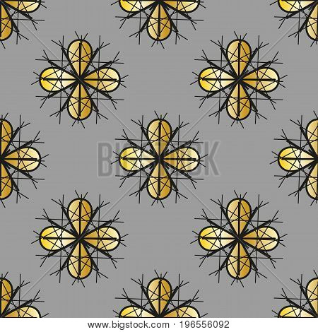 Seamless pattern with gold petals on a gray background.