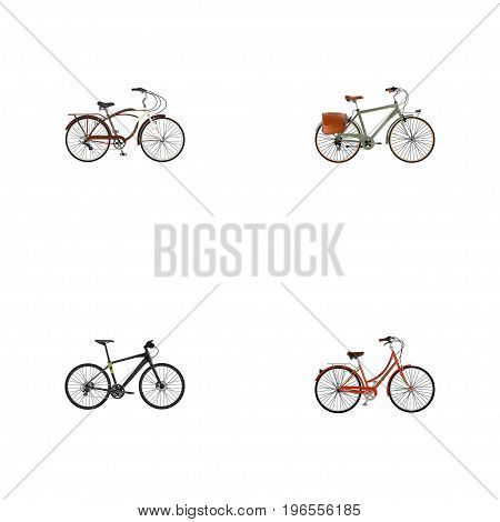 Realistic Working, Hybrid Velocipede, Retro And Other Vector Elements