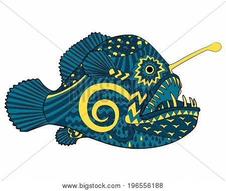 Bright colored creepy monk fish with high details in tracery style. Sketch of angelfish for tattoo, poster, print, t-shirt in zentangle style. Vector.