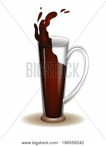 Illustration of beer mug for International beer day. Transparent object for alchohol festival.