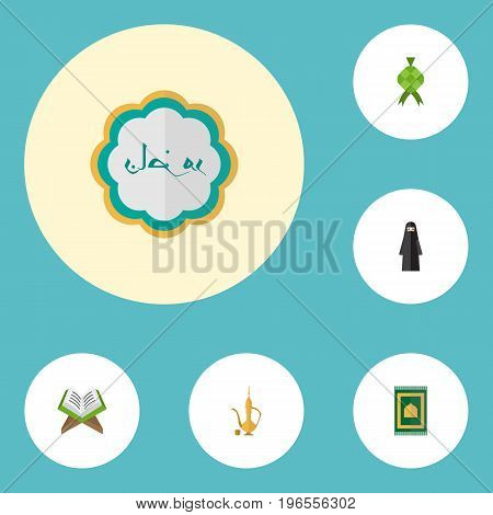 Flat Icons Holy Book, Muslim Woman, Decorative And Other Vector Elements