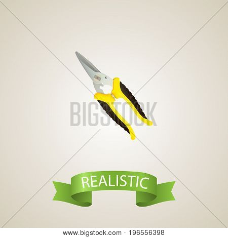 Realistic Shear Element. Vector Illustration Of Realistic Scissors Isolated On Clean Background