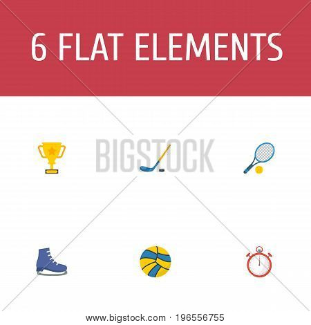 Flat Icons Rocket, Volleyball, Second Meter And Other Vector Elements