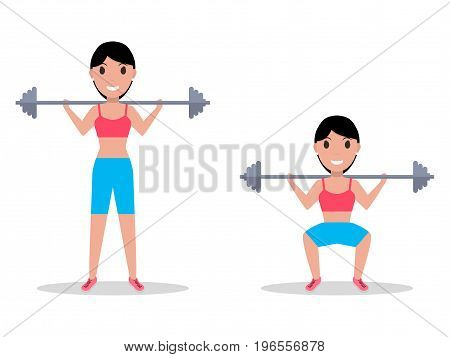 Vector illustration of a cartoon girl crouching with a heavy barbell on her shoulders. Isolated white background. Exercise squatting with a barbell. Flat style.