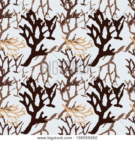 Seamless botanic pattern. Colorful background with branch imprints.Tile texture with stamps of the nature objects. Template for wrapping, textile. poster print. Vector