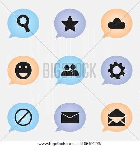 Set Of 9 Editable Network Icons. Includes Symbols Such As Letter, Magnifier, Group And More
