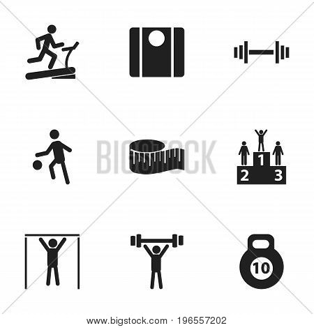 Set Of 9 Editable Exercise Icons. Includes Symbols Such As Street Workout, Strength, Sportsman And More