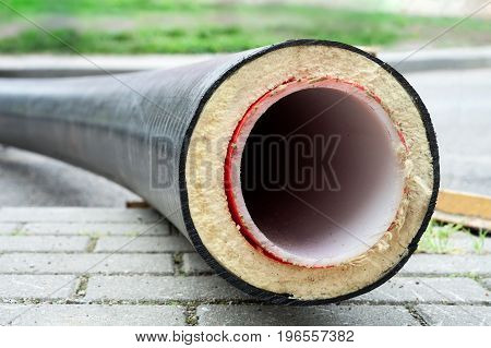 Insulation. Pipe with Heat Insulation on the street.