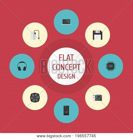 Flat Icons Slot Machine, Cooler, Diskette And Other Vector Elements