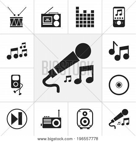 Set Of 12 Editable Sound Icons. Includes Symbols Such As Karaoke, Cassette Player, Music Phone And More