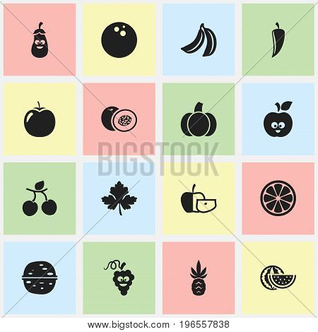 Set Of 16 Editable Cooking Icons. Includes Symbols Such As Coconut, Gourd, Funny Apple And More