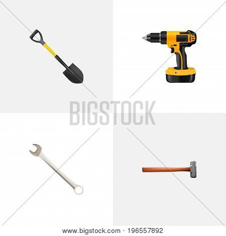 Realistic Spade, Handle Hit, Electric Screwdriver Vector Elements