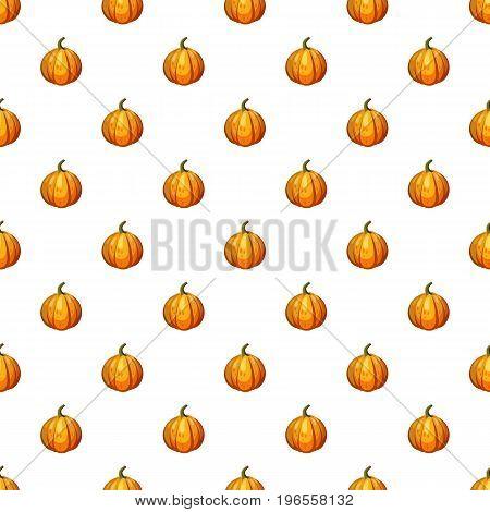 Orange pumpkin pattern seamless repeat in cartoon style vector illustration