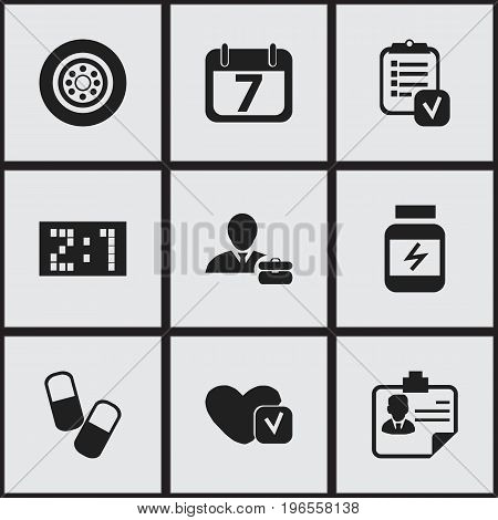 Set Of 9 Editable Complicated Icons. Includes Symbols Such As Questionnaire, Date Block, Result And More