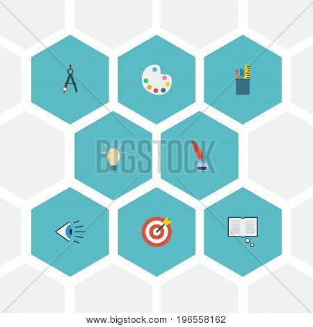 Flat Icons Compass, Pencil, Concept And Other Vector Elements
