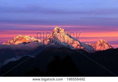 Panorama Of Mount Annapurna - View From Poon Hill On Annapurna Circuit Trek, Nepal