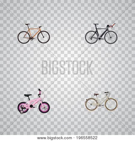 Realistic Timbered, Childlike, Competition Bicycle And Other Vector Elements