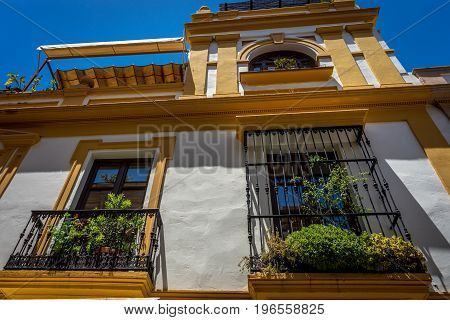 View Of A Balcony Of A House In Seville, Spain, Europe