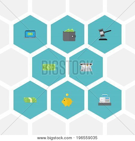 Flat Icons Computer, Cash Stack, Till And Other Vector Elements