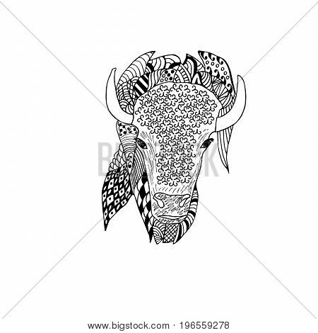 Bison head hand drawn. Doodle art . Object isolated on white.