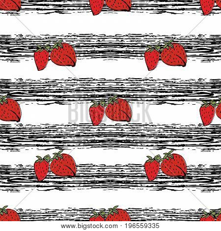 Strawberries hand drawn ob black strips pattern. Object isolated.