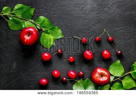 Apple, pulm and cherry for summer fruit drink black stone table top view.