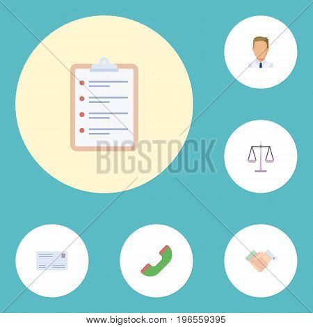 Flat Icons Telephone, Envelope, Employee And Other Vector Elements